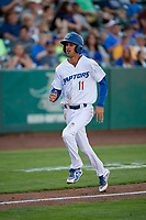 Preston Grand Pre (11) of the Ogden Raptors during the game against the Grand Junction Rockies at Lindquist Field on June 25, 2018 in Ogden, Utah. The Raptors defeated the Rockies 5-3. (Stephen Smith/Four Seam Images)