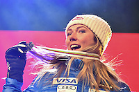 February 16, 2017: 2nd place Mikaela SHIFFRIN (USA) pose for photographs at the medal ceremony for the women's giant slalom event of the FIS Alpine World Ski Championships at St Moritz, Switzerland. Photo Sydney Low