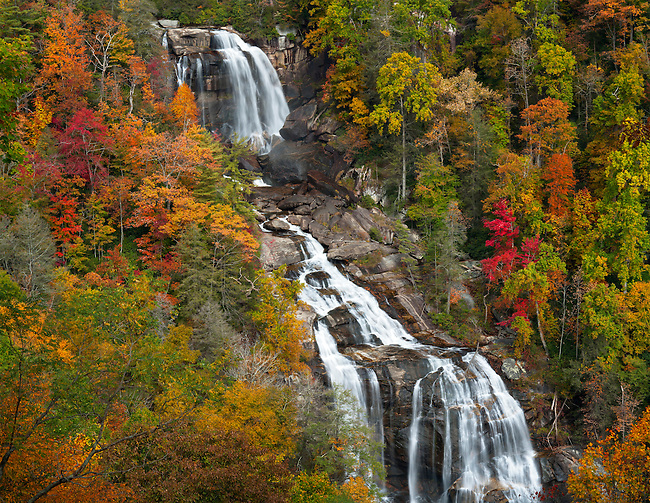 Autumn at upper Whitewater Falls, Nantahala National Forest