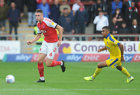 Fleetwood Town's Harry Souttar under pressure from AFC Wimbledon's Kwesi Appiah<br /> <br /> Photographer Kevin Barnes/CameraSport<br /> <br /> The EFL Sky Bet Championship - Fleetwood Town v AFC Wimbledon - Saturday 10th August 2019 - Highbury Stadium - Fleetwood<br /> <br /> World Copyright © 2019 CameraSport. All rights reserved. 43 Linden Ave. Countesthorpe. Leicester. England. LE8 5PG - Tel: +44 (0) 116 277 4147 - admin@camerasport.com - www.camerasport.com