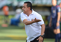MEDELLIN - COLOMBIA - 2-08-2015.Juan Carlos Sanchez director tecnico del Envigado reacciona contra el Atkletico Nacional durante partido  por la fecha 4 de la Liga Aguila II 2015 jugado en el estadio Atanasio Girardot. /Juan  Carlos Sanchez coach of Envigado FC  fights the bal lreacts against  of Atletico Nacional   during a match for the fourth date of the Liga Aguila II 2015 played at Atanasio Girardot stadium in Medellin city. Photo: VizzorImage / Leon Mosalve  / Str.