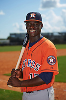 Houston Astros Daz Cameron (13) poses for a photo after an instructional league game against the Atlanta Braves on October 1, 2015 at the Osceola County Complex in Kissimmee, Florida.  (Mike Janes/Four Seam Images)