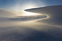 """Wind blown snow """"Zastrugi"""" on Eagle Summit, Alaska."""