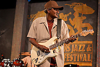 Louisiana Blues and Zydeco musician Paul 'Li'l Buck' Sinegal performs with his band Li'l Buck Sinegal Blues Band on the Blues Tent stage at the New Orleans Jazz and Heritage Festival at the New Orleans Fair Grounds Race Course in New Orleans, Louisiana, USA, 25 April 2009.