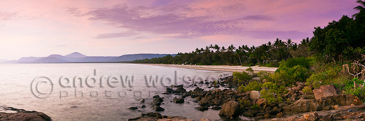 View along Four Mile Beach at twilight.  Port Douglas, Queensland, Australia