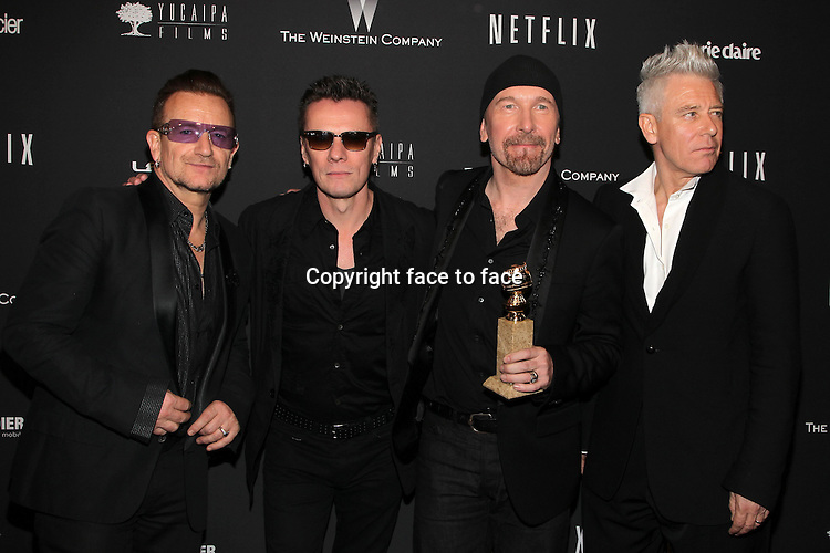Beverly Hills, California - January 12: Bono, Larry Mullen, Jr., The Edge, Adam Clayton at The Weinstein Company &amp; Netflix 2014 Golden Globes After Party on January 12, 2014 at The Beverly Hilton Hotel, California. <br />