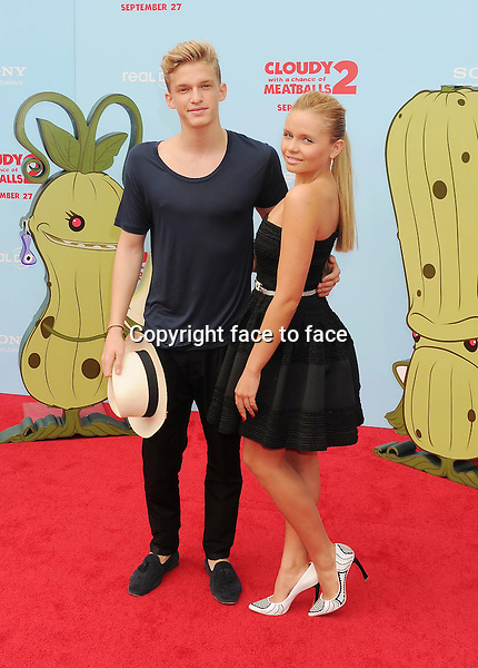 WESTWOOD, CA- SEPTEMBER 21: Singer Cody Simpson (L) and actress Alli Simpson arrive at the Los Angeles premiere of 'Cloudy With A Chance Of Meatballs 2' at the Regency Village Theatre on September 21, 2013 in Westwood, California.(Cody Simpson; Alli Simpson)<br /> Credit: Mayer/face to face<br /> - No Rights for USA, Canada and France -