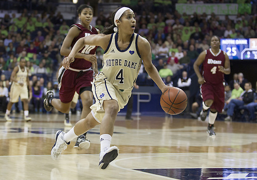 November 18, 2012:  Notre Dame guard Skylar Diggins (4) drives to the basket during NCAA Women's Basketball game action between the Notre Dame Fighting Irish and the Massachusetts Minutewomen at Purcell Pavilion at the Joyce Center in South Bend, Indiana.  Notre Dame defeated Massachusetts 94-50.