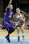 21 March 2015: Ohio State's Cait Craft (right) and James Madison's Jazmon Gwathmey (24). The Ohio State University Buckeyes played the James Madison University Dukes at Carmichael Arena in Chapel Hill, North Carolina in a 2014-15 NCAA Division I Women's Basketball Tournament first round game.