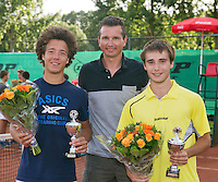 August 9, 2014, Netherlands, Rotterdam, TV Victoria, Tennis, National Junior Championships, NJK,  Prize giving, Richard Krajicek with Guy den Heijer (R) and Casper Bonapart, runners up boys doubles 18 years<br /> Photo: Tennisimages/Henk Koster