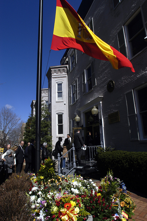 Hundreds of people gathered at Washington Circle and the Spanish Embassy today for a vigil for the victims of yesterday's bombs in Madrid.