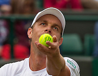 London, England, 2 July, 2016, Tennis, Wimbledon, Sam Querrey (USA) serves the ball during his match against Novak Djokovic (SRB)<br /> Photo: Henk Koster/tennisimages.com