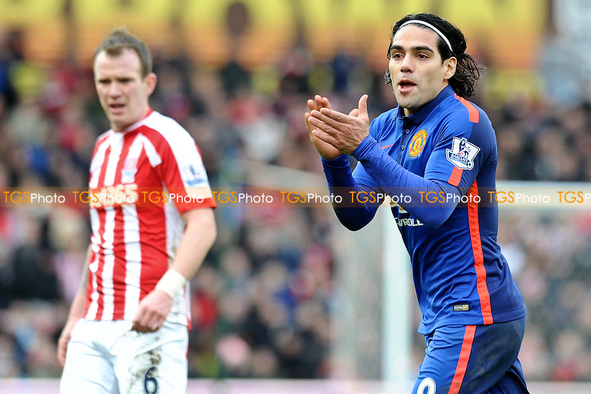 Radamel Falcao Garcia of Manchester United rallies his side - Stoke City vs Manchester United - Barclays Premier League Football at the Britannia Stadium, Stoke-on-Trent - 01/01/15 - MANDATORY CREDIT: Greig Bertram/TGSPHOTO - Self billing applies where appropriate - contact@tgsphoto.co.uk - NO UNPAID USE