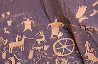 Ancient Indian rock paintings at Newspaper Rock, Indian Creek in Utah, USA