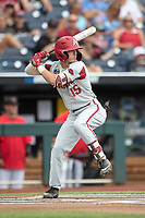 Arkansas Razorbacks shortstop Casey Martin (15) at bat during Game 5 of the NCAA College World Series against the Texas Tech Red Raiders on June 17, 2019 at TD Ameritrade Park in Omaha, Nebraska. Texas Tech defeated Arkansas 5-4. (Andrew Woolley/Four Seam Images)