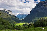 Austria, Vorarlberg, view from mountain inn Kanisfluh at village Au at background | Oesterreich, Vorarlberg, Blick vom Berggasthof Kanisfluh auf Au im Hintergrund