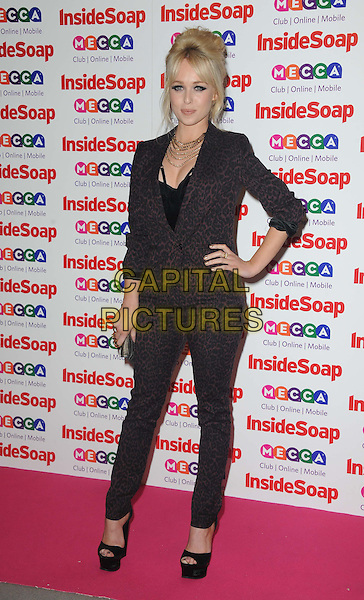Jorgie Porter <br /> Inside Soap Awards at Ministry Of Sound, London, England.<br /> 21st October 2013<br /> full length black maroon suit blazer trousers hand on hip leopard print brown <br /> CAP/DS<br /> &copy;Dudley Smith/Capital Pictures