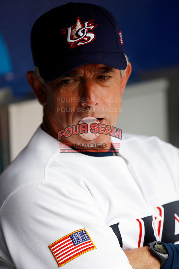 Buck Martinez, manager of the USA team, during the World Baseball Championships at Angel Stadium in Anaheim,California on March 12, 2006. Photo by Larry Goren/Four Seam Images