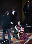 "Corey Cott and Laura Osnes with cast performing during the MCP Production of ""The Scarlet Pimpernel"" Concert at the David Geffen Hall on February 18, 2019 in New York City."