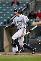 Scranton Wilkes-Barre Yankees outfielder Jordan Parraz #8 at bat during a game against the Rochester Red Wings at Frontier Field on April 12, 2011 in Rochester, New York.  Scranton defeated Rochester 5-3.  Photo By Mike Janes/Four Seam Images