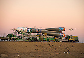 The Soyuz TMA-11M rocket, adorned with the logo of the Sochi Olympic Organizing Committee and other related artwork, is rolled out to the launch pad by train on Tuesday, Nov. 5, 2013, at the Baikonur Cosmodrome in Kazakhstan. Launch of the Soyuz rocket is scheduled for November 7 and will send Expedition 38 Soyuz Commander Mikhail Tyurin of Roscosmos, Flight Engineer Rick Mastracchio of NASA and Flight Engineer Koichi Wakata of the Japan Aerospace Exploration Agency on a six-month mission aboard the International Space Station.  <br /> Mandatory Credit: Bill Ingalls / NASA via CNP