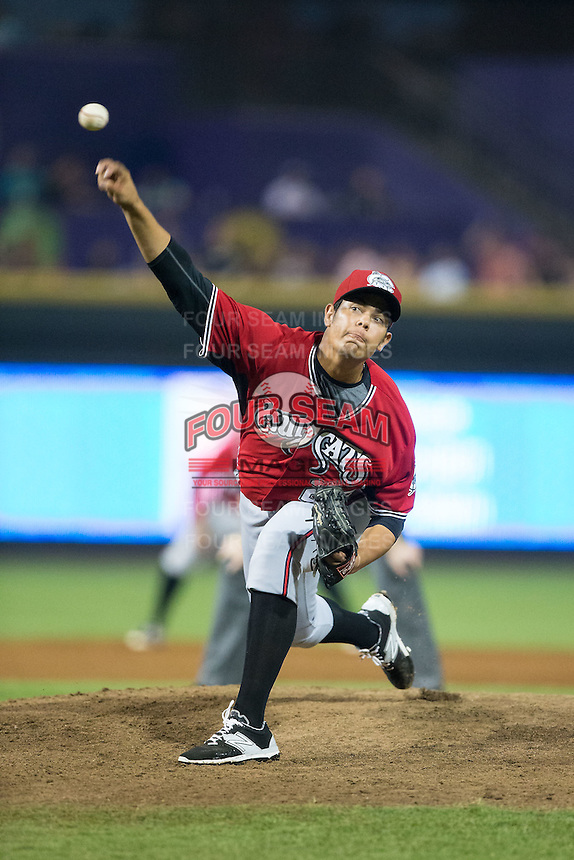 Carolina Mudcats relief pitcher Jorge Zavala (23) in action against the Winston-Salem Dash at BB&T Ballpark on July 23, 2015 in Winston-Salem, North Carolina.  The Dash defeated the Mudcats 3-2.  (Brian Westerholt/Four Seam Images)