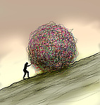 Concept image woman pushing a large ball of tangled string up a hill depicting hard work and confusion