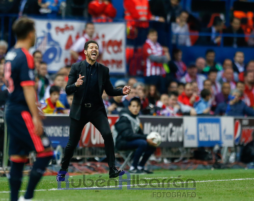 Atletico Madrid's coach Diego Pablo Simeone during the UEFA Champions League match between Atletico Madrid and Fc Bayern Munich at the Vicente Calderon Stadium in Madrid, Wednesday, April 27, 2016.