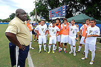 2 October 2011:  FIU's Mens Soccer Head Coach Munga Eketebi addresses his team prior to the match.  The FIU Golden Panthers defeated the University of Kentucky Wildcats, 1-0 in overtime, at University Park Stadium in Miami, Florida.