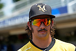 4 JUNE 2016: Millersville University player styled his mustache for the Division II Men's Baseball Championship between Millersville University and Nova Southeastern University at the USA Baseball National Training Complex in Cary, NC.  Nova Southeastern University defeated Millersville University 8-6 to win the national title. Grant Halverson/NCAA Photos
