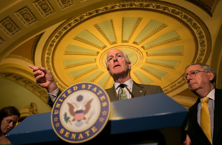 UNITED STATES - September 29: Sen. John Cornyn, R-Texas, speaks during a news conference following the weekly Senate Democrats' policy lunch in the U.S. Capitol in Washington, on Tuesday, Sept. 29, 2015. (Photo By Al Drago/CQ Roll Call)