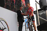 Jens Voigt greets Adam Hansen (AUS) Lotto-Soudal team on stage at the Team Presentation in Burgplatz Dusseldorf before the 104th edition of the Tour de France 2017, Dusseldorf, Germany. 29th June 2017.<br /> Picture: Eoin Clarke | Cyclefile<br /> <br /> <br /> All photos usage must carry mandatory copyright credit (&copy; Cyclefile | Eoin Clarke)