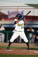 Burlington Bees outfielder Ayendy Perez (32) at bat during a game against the Clinton LumberKings on August 20, 2015 at Community Field in Burlington, Iowa.  Burlington defeated Clinton 3-2.  (Mike Janes/Four Seam Images)