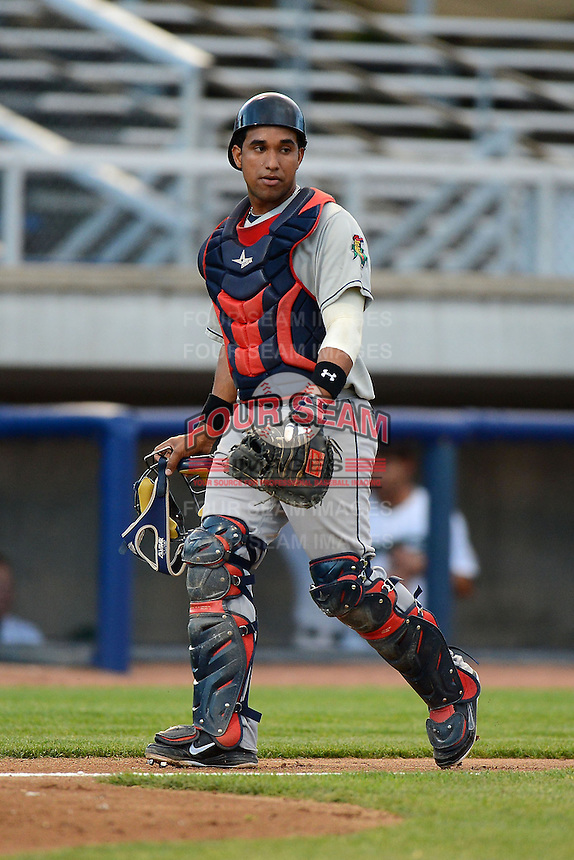 Cedar Rapids Kernels catcher Jhonatan Arias #23 during a game against the Beloit Snappers on May 22, 2013 at Pohlman Field in Beloit, Wisconsin.  Beloit defeated Cedar Rapids 7-6.  (Mike Janes/Four Seam Images)