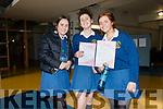 Pobalscoil Chorca Dhuibhne students Dearbhla Ní Chearna, Céití Ní Lúing and Muireann Ní Ghealbhain after the Leaving Certificate first day.