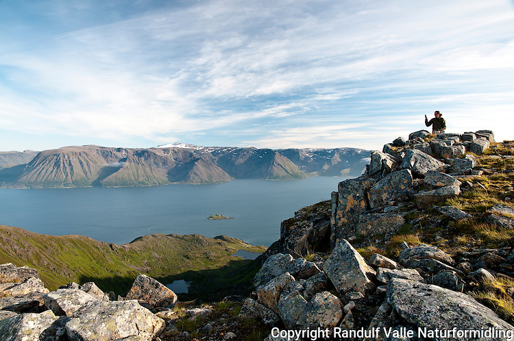 Dame med mobiltelefon på toppen av Komagaksla, det høyeste fjellet på Sørøya. Sørøysundet og Seiland i bakgrunnen. ----- Woman on top of Komagaksla, the highest point on Sørøya.