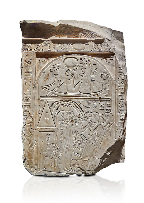"Ancient Egyptian stele of sculptor Qen, limestone, New Kingdom, 19th Dynasty, (1279-1213 BC), Deir el-Medina, Old Fund cat 1635. Egyptian Museum, Turin. white background<br /> <br /> This stele belongs to the ""painter of outlines' and sculptor Qen who lived in the reign of Ramesses II. It depicrs a funeral celebration for him infront of funerary chapel with his sond Meryre and Huy, who are performing the ""ceremony of Opening of the Mouth"". His daughter Taqri is depicted grieving over the loss of her father. The chapel is summounted by a Pyramidion."