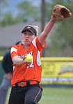 Douglas pitcher Deztiny Vaughan throws against Spanish Springs in the NIAA 4A Northern Regional Softball Championship at Bishop Manogue High School in Reno, Nevada on Saturday, May 12, 2018.