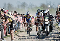 Peter Sagan (SVK/Bora-Hansgrohe) thrown back in the field at the Carrefour de l'Arbre sector after 2 mechanicals <br /> <br /> 115th Paris-Roubaix 2017 (1.UWT)<br /> One Day Race: Compi&egrave;gne &rsaquo; Roubaix (257km)