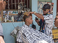Outdoor haircut, Regla, Habana