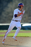 Third Baseman Richie Shaffer #8 of the Clemson Tigers runs to third during  a game against the North Carolina Tar Heels at Doug Kingsmore Stadium on March 9, 2012 in Clemson, South Carolina. The Tar Heels defeated the Tigers 4-3. Tony Farlow/Four Seam Images.