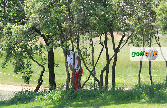 Benjamin Hebert (FRA) on the 2nd fairway during Round 3 of the Open de Espana  in Club de Golf el Prat, Barcelona on Saturday 16th May 2015.<br /> Picture:  Thos Caffrey / www.golffile.ie
