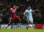 Dante of Bayern Munich hustles Sergio Aguero of Manchester City  - UEFA Champions League group E - Manchester City vs Bayern Munich - Etihad Stadium - Manchester - England - 25rd November 2014  - Picture Simon Bellis/Sportimage