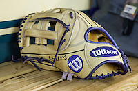 LSU Tigers outfielder Jake Fraley's glove on March 8, 2015 at Minute Maid Park in Houston, Texas. (Andrew Woolley/Four Seam Images)
