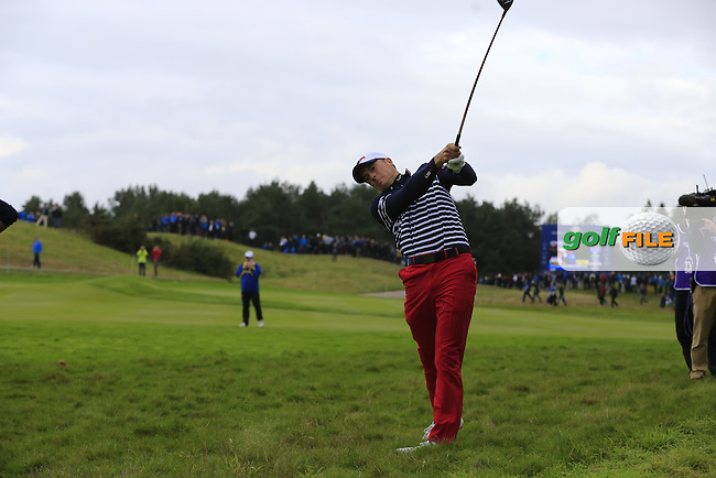 Jordan Spieth (USA) plays his 2nd shot from the rough on the 16th hole during Sunday's Singles Matches of the Ryder Cup 2014 played on the PGA Centenary Course at the Gleneagles Hotel, Auchterarder, Scotland.: Picture Eoin Clarke, www.golffile.ie: 28th September 2014