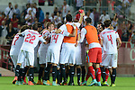 Sevilla's players celebs his victiry after the between Sevilla FC and Villarreal day 9 spanish  BBVA League 2014-2015 day 5, played at Sanchez Pizjuan stadium in Seville, Spain. (PHOTO: CARLOS BOUZA / BOUZA PRESS / ALTER PHOTOS)