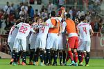 Sevilla's players celebs his victiry after the between Sevilla FC and Villarreal day 9 spanish  BBVA League 2014-2015 day 5, played at Sanchez Pizjuan stadium in Seville, Spain. (PHOTO: CARLOS BOUZA / BOUZA PRESS / ALTER PHOTOS)