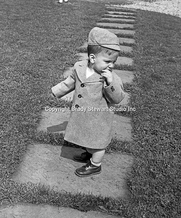 Bethel Park PA: Michael Stewart dressed for church - 1955.  Stewart's went to St Valentine's Catholic Church on West Library Road.