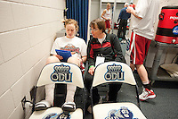 NORFOLK, VA--Pre-practice locker room at the Ted Constant Convocation Center at Old Dominion University in Norfolk, VA for the first and second rounds of the 2012 NCAA tournament.