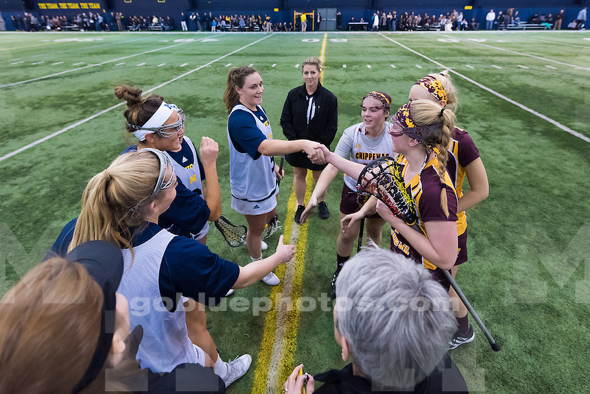 The University of Michigan women's lacrosse team defeats Central Michigan,14-1, at Oosterbaan Field House in Ann Arbor, Mich., on Feb. 07, 2016.